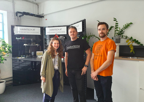 Co-creation session at HARATECH in Linz (Austria), October 2019 Left: Ganit Goldstein, Manfred Haiberger and Guillaume Clément (Haratech)